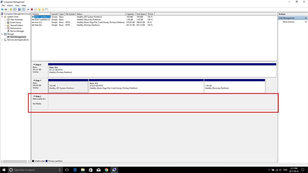 lacie hard drive is not detecting in computer management
