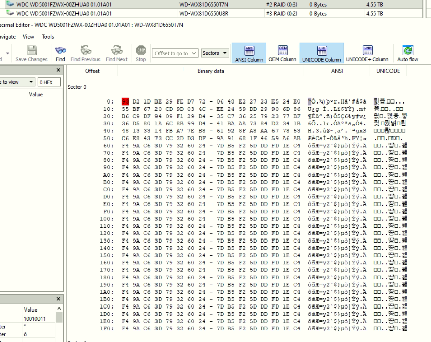 Looking at a virtual machine file with hexadecimal editor